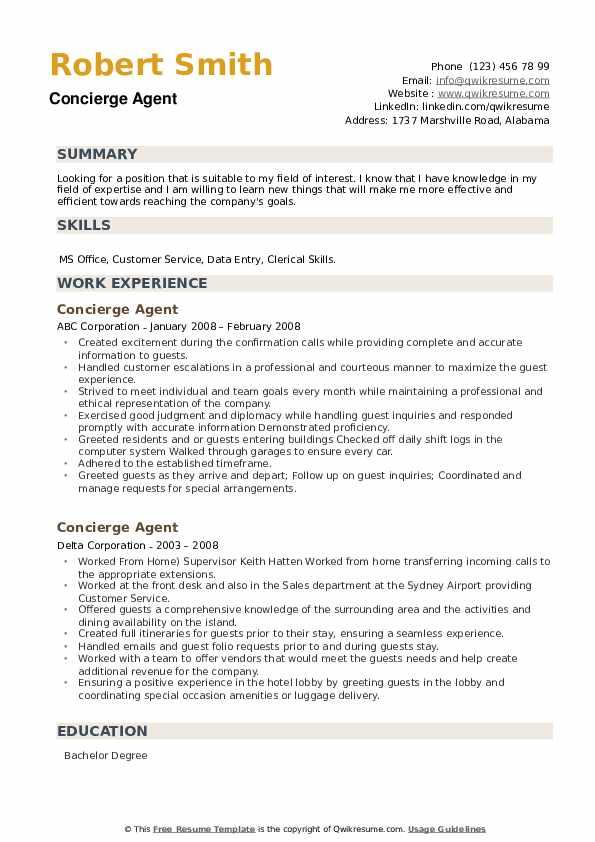 Concierge Agent Resume example