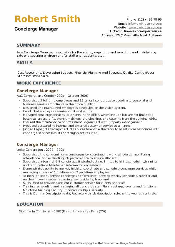 Concierge Manager Resume example