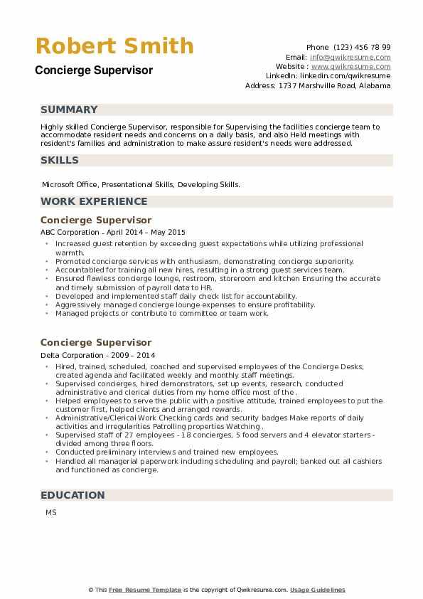 Concierge Supervisor Resume example
