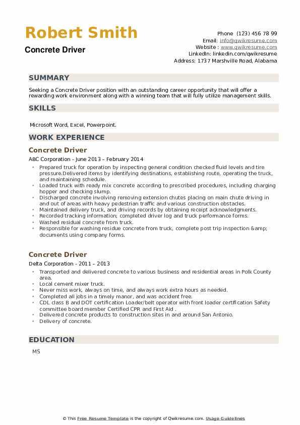 Concrete Driver Resume example
