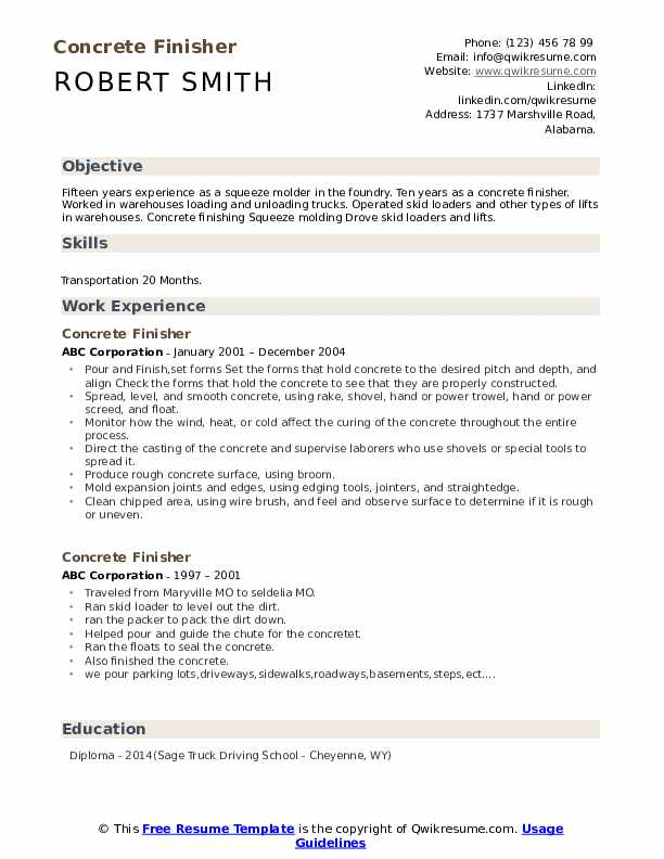 Concrete Finisher Resume Format