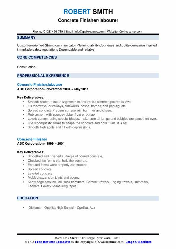 Concrete Finisher/labourer Resume Example
