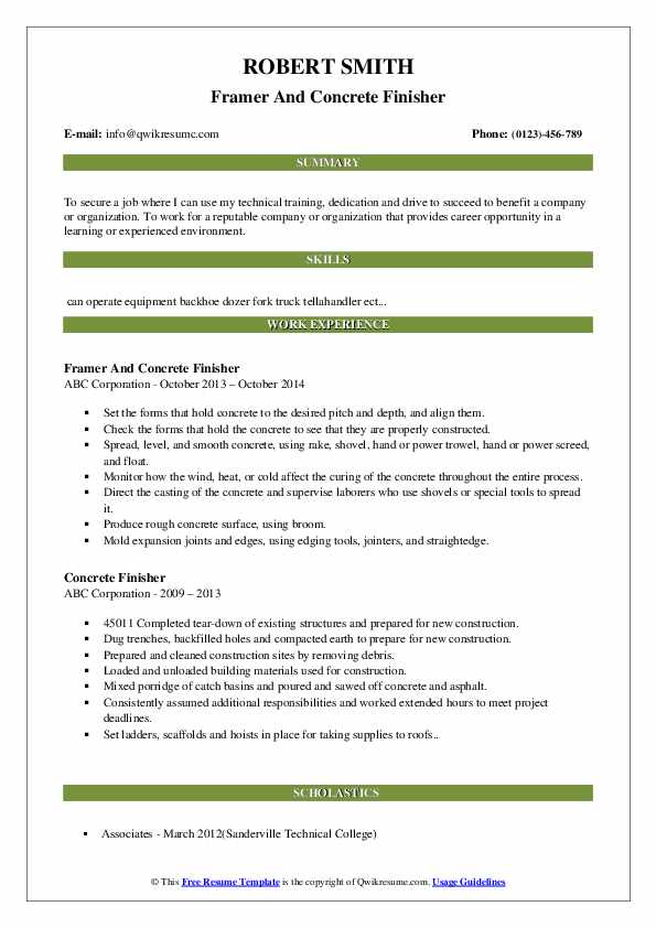 Framer And Concrete Finisher Resume Example