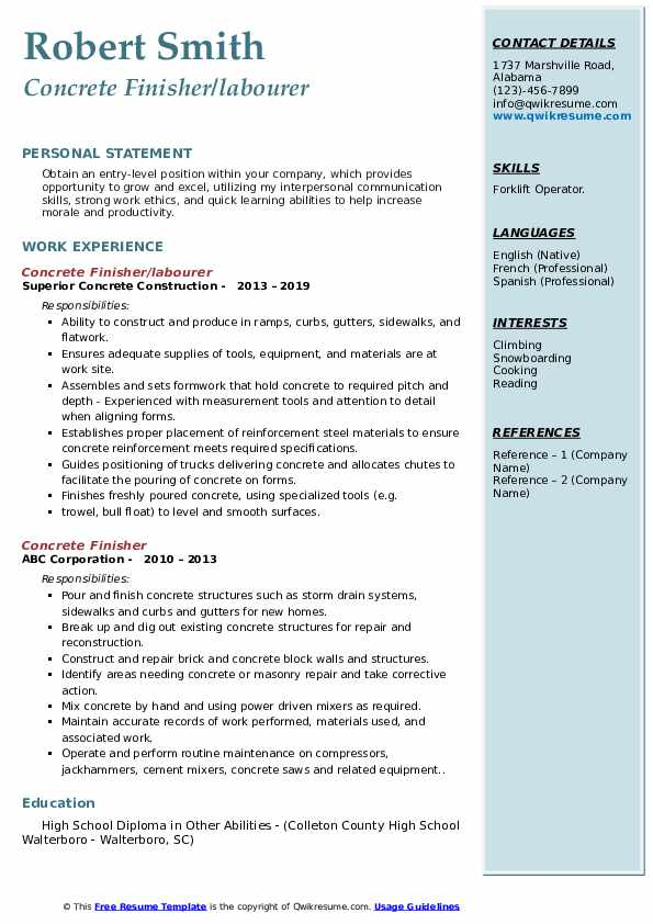 Concrete Finisher/labourer Resume Sample