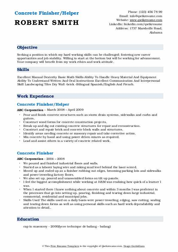 Concrete Finisher/Helper Resume Example