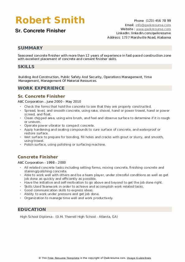 Sr. Concrete Finisher Resume Example