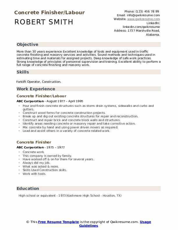 Concrete Finisher/Labour Resume Example