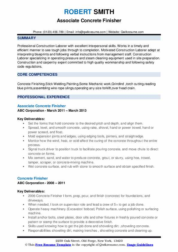 Associate Concrete Finisher Resume Format