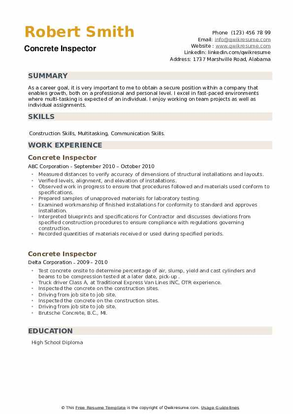 Concrete Inspector Resume example