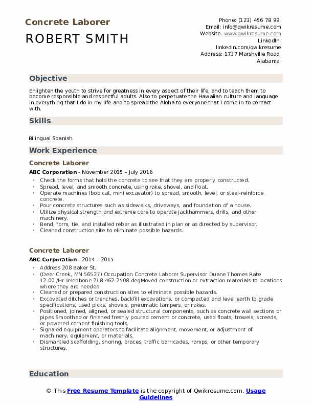 Concrete Laborer Resume Sample