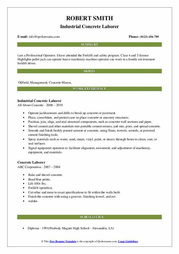 Industrial Concrete Laborer Resume Sample