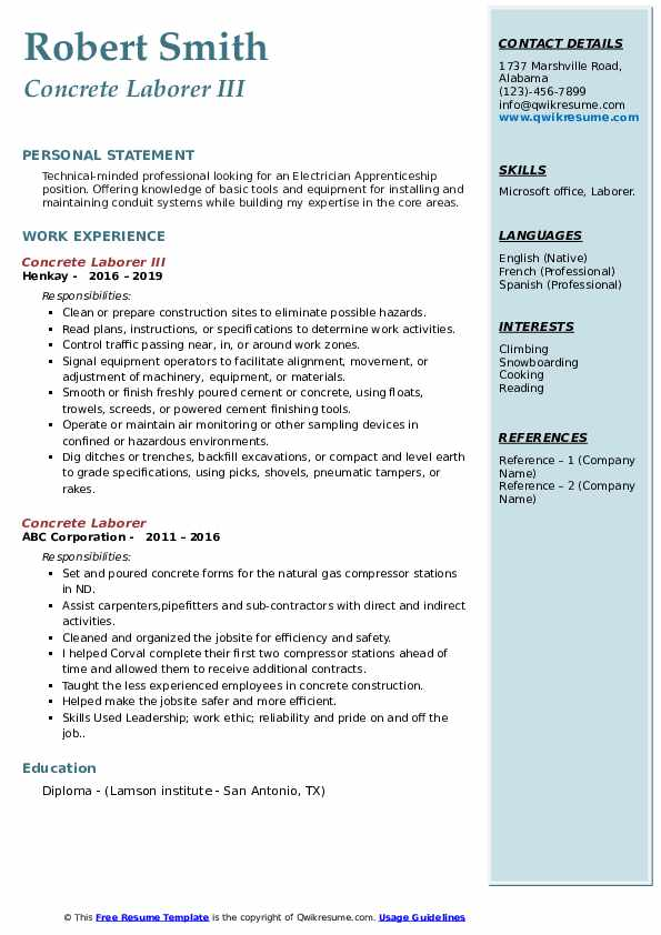 Concrete Laborer III Resume Example