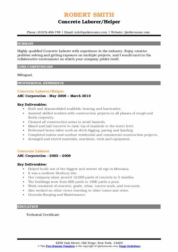 Concrete Laborer/Helper Resume Sample