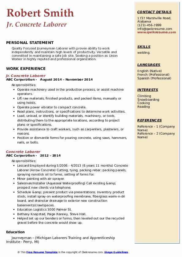 concrete laborer resume samples