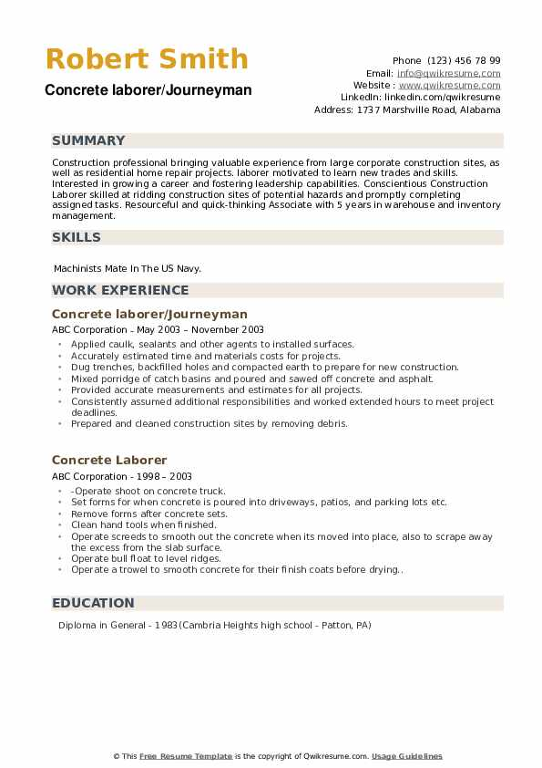 Concrete laborer/Journeyman Resume Format