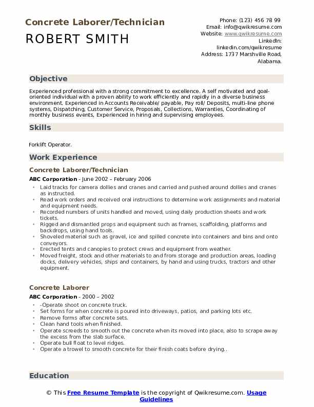 Concrete Laborer/Technician Resume Sample