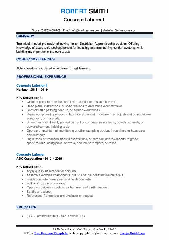 Concrete Laborer II Resume Sample