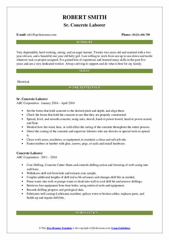 Sr. Concrete Laborer Resume Example