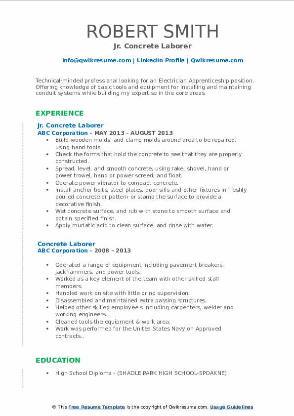 Jr. Concrete Laborer Resume Format