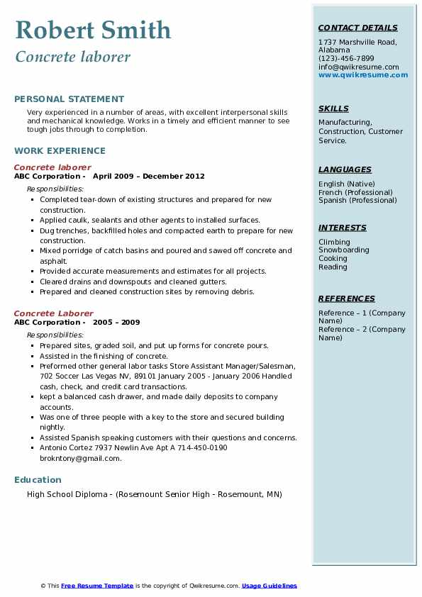 Concrete Laborer Resume example