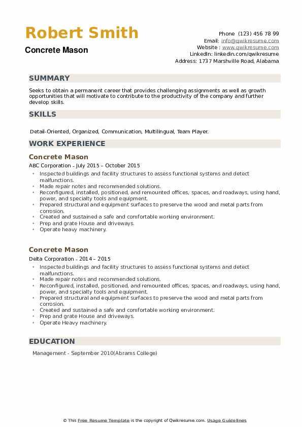 Concrete Mason Resume example