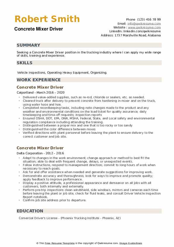 Concrete Mixer Driver Resume example