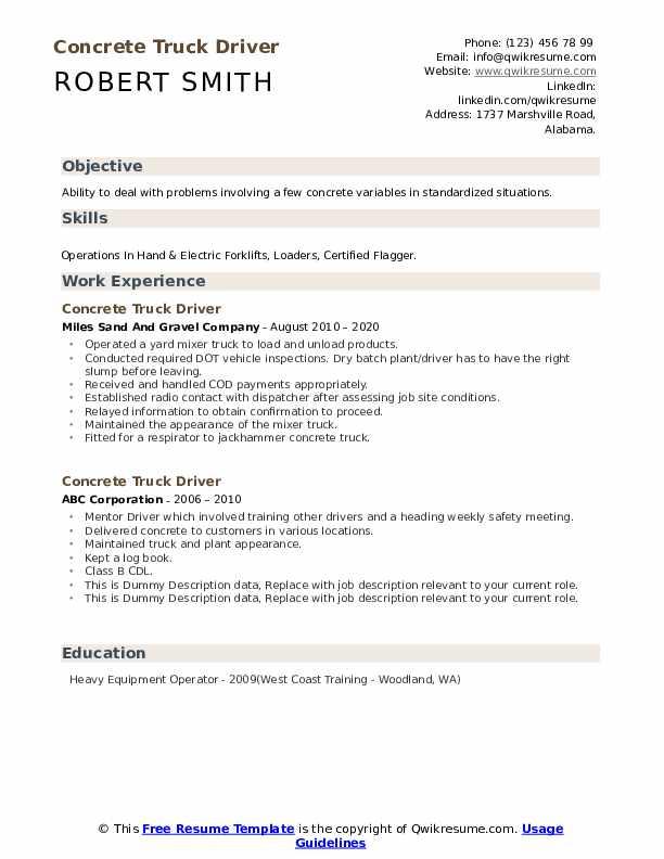 Concrete Truck Driver Resume example