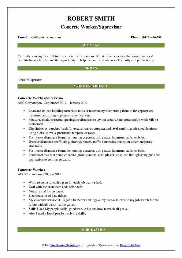 Concrete Worker/Supervisor Resume Model