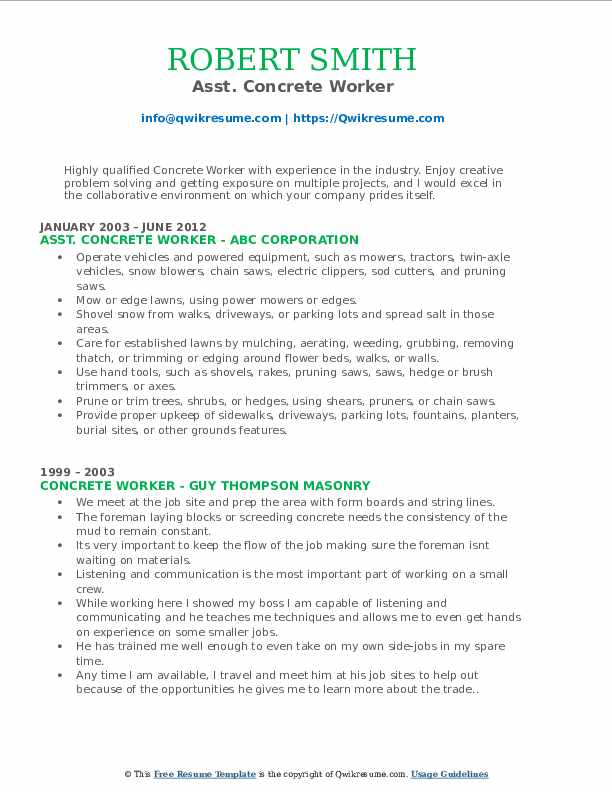 Asst. Concrete Worker Resume Format