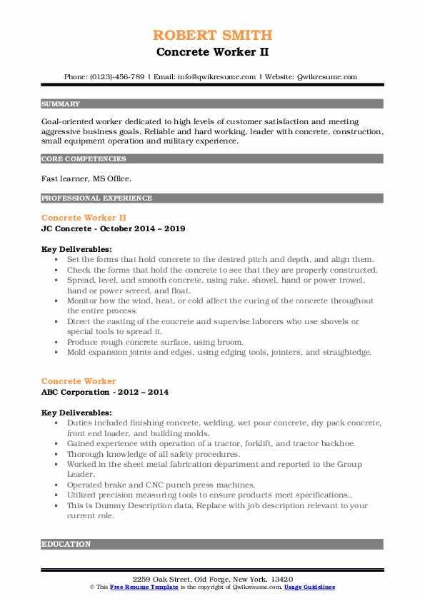 Concrete Worker II Resume Model