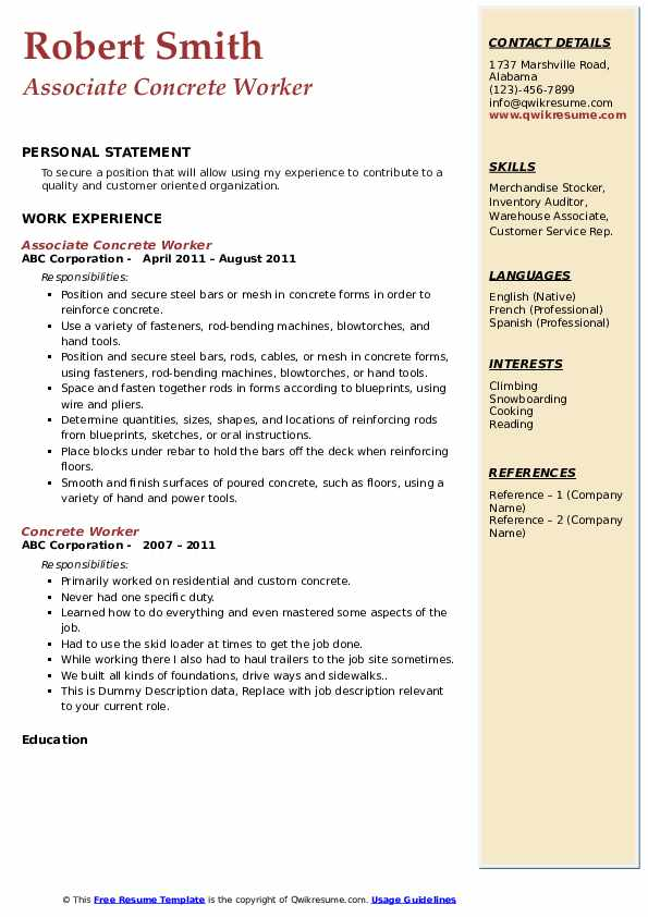 Associate Concrete Worker Resume Template