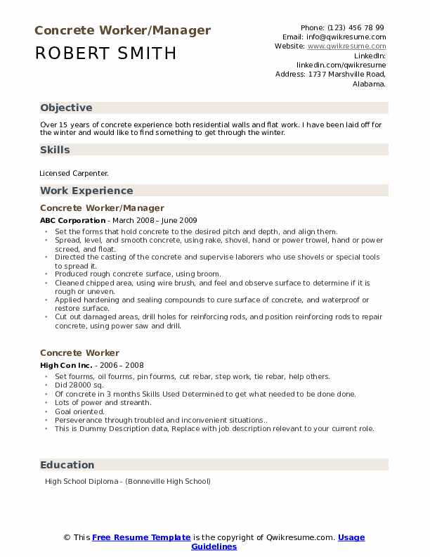 Concrete Worker/Manager Resume Template