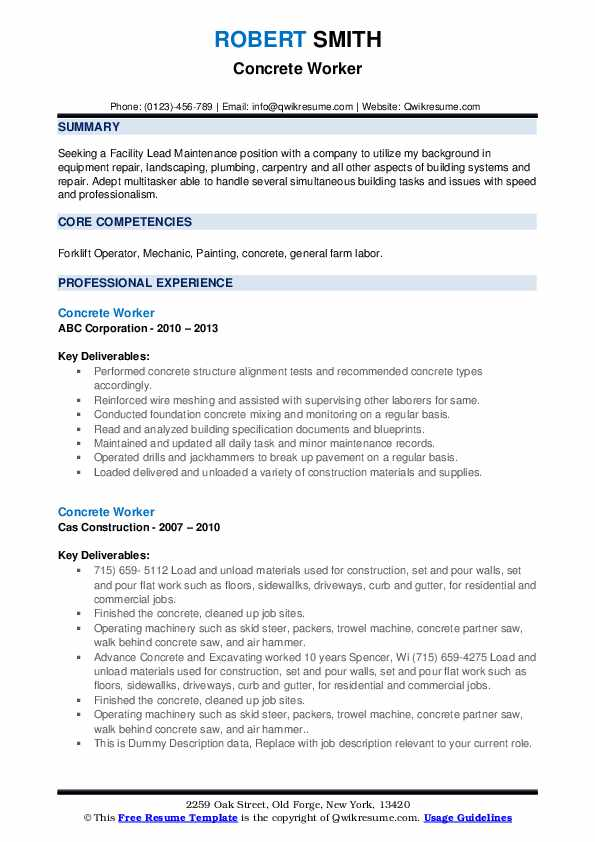 Concrete Worker Resume example
