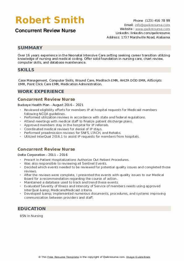 Concurrent Review Nurse Resume example