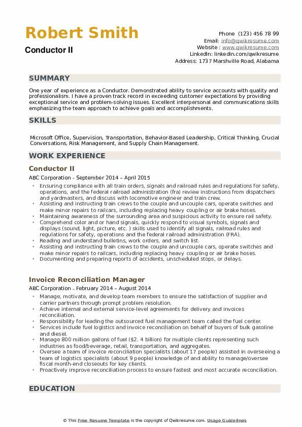 conductor resume samples