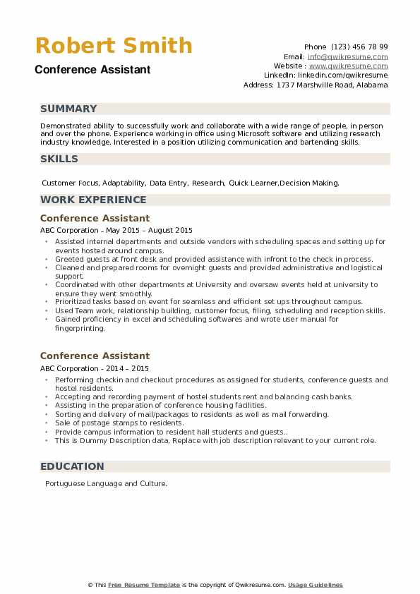 Conference Assistant Resume example
