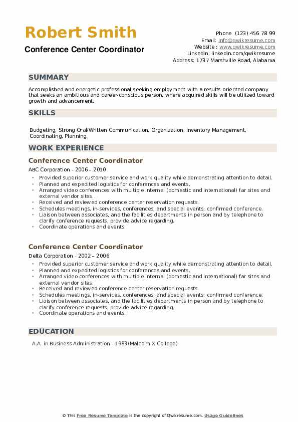 Conference Center Coordinator Resume example