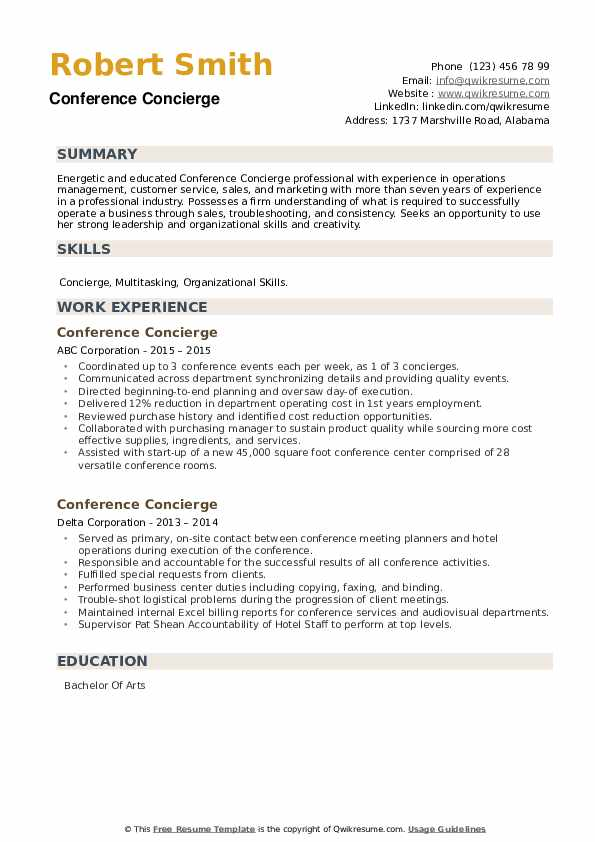 Conference Concierge Resume example