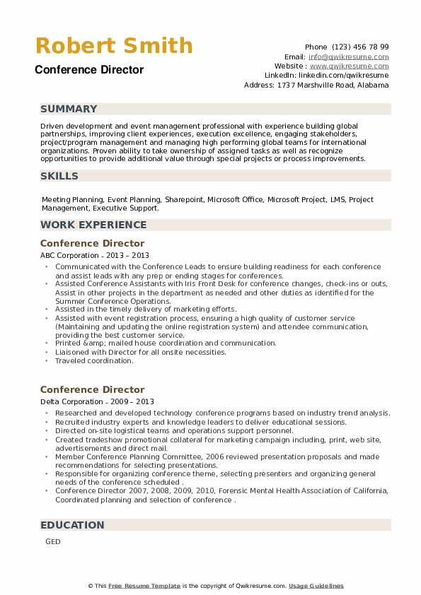 Conference Director Resume example