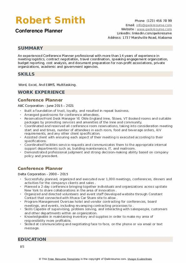 Conference Planner Resume example