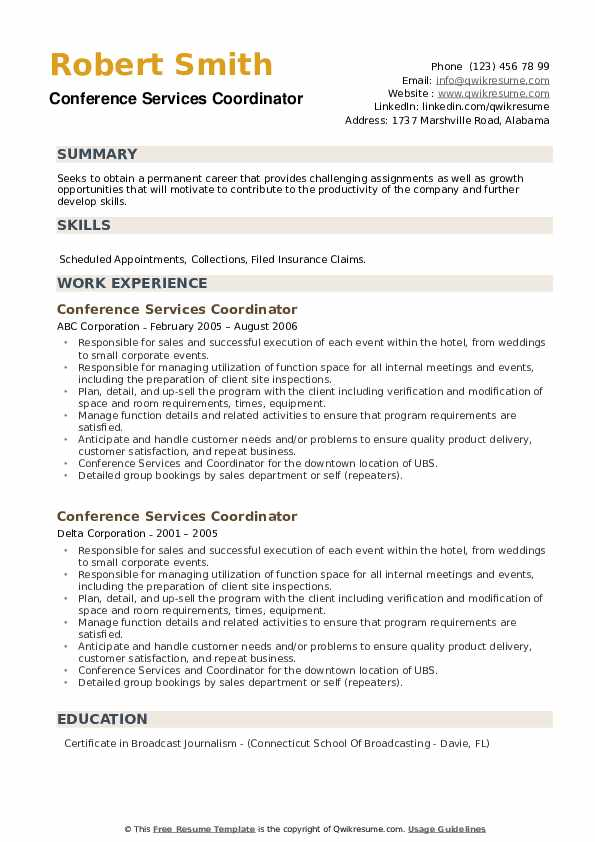 Conference Services Coordinator Resume example