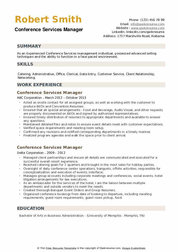 Conference Services Manager Resume example