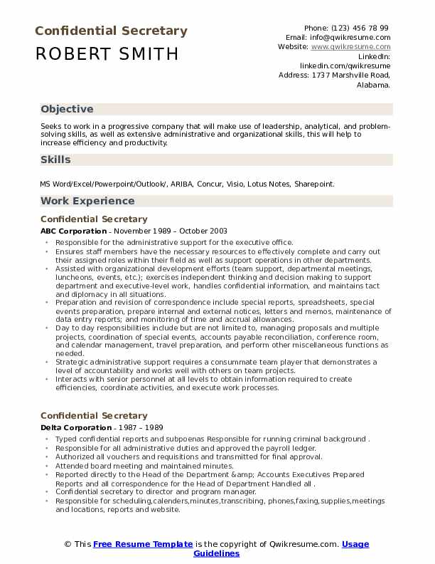Confiential resume business plan format