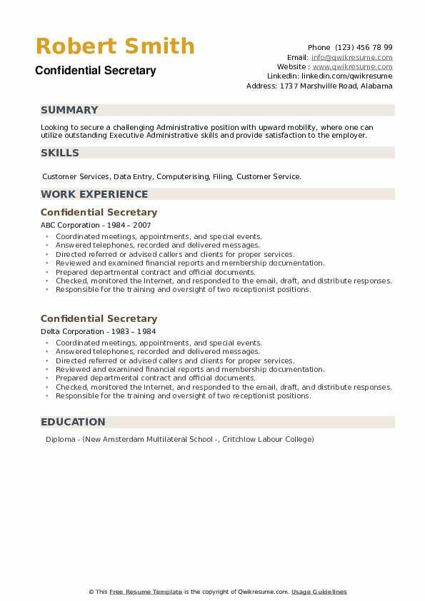 Confidential Secretary Resume example