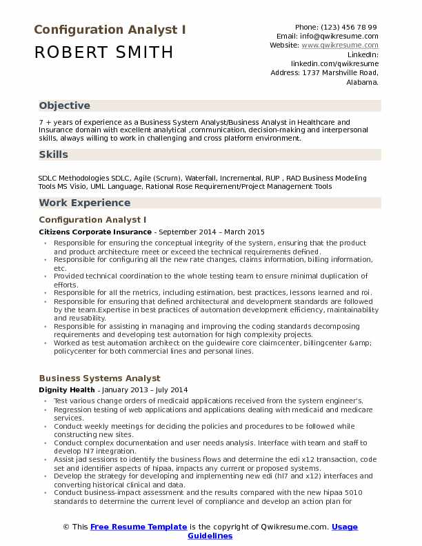 Configuration Analyst I Resume Model
