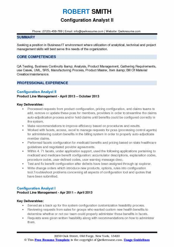 Configuration Analyst II Resume Format