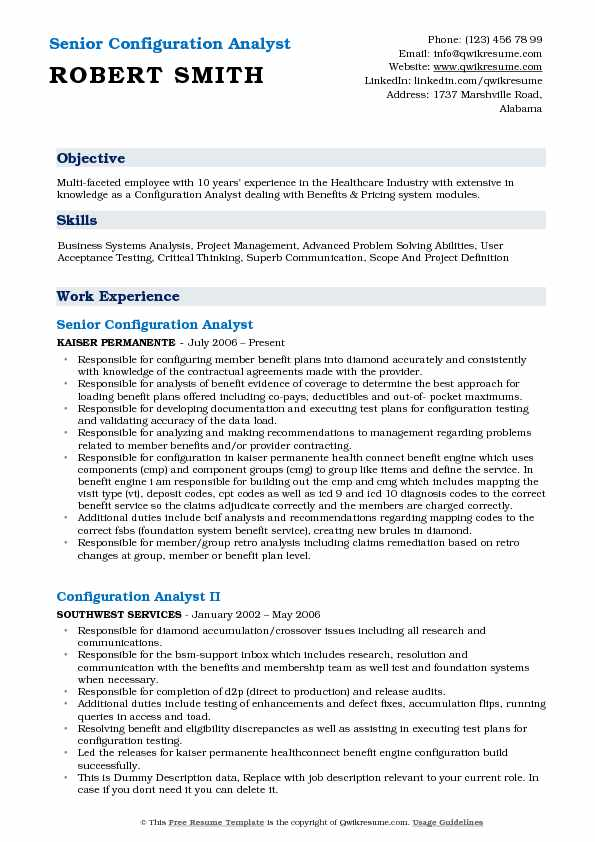 Senior Configuration Analyst Resume Format