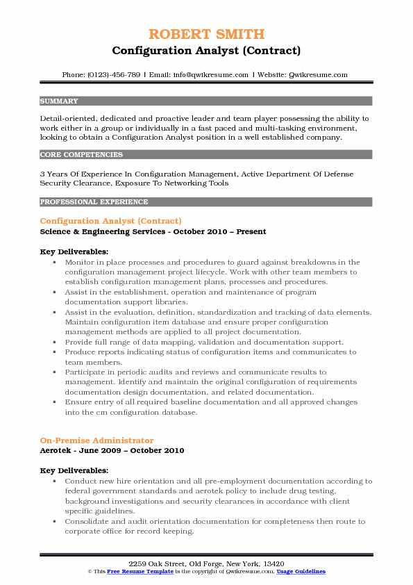 Configuration Analyst (Contract) Resume Sample