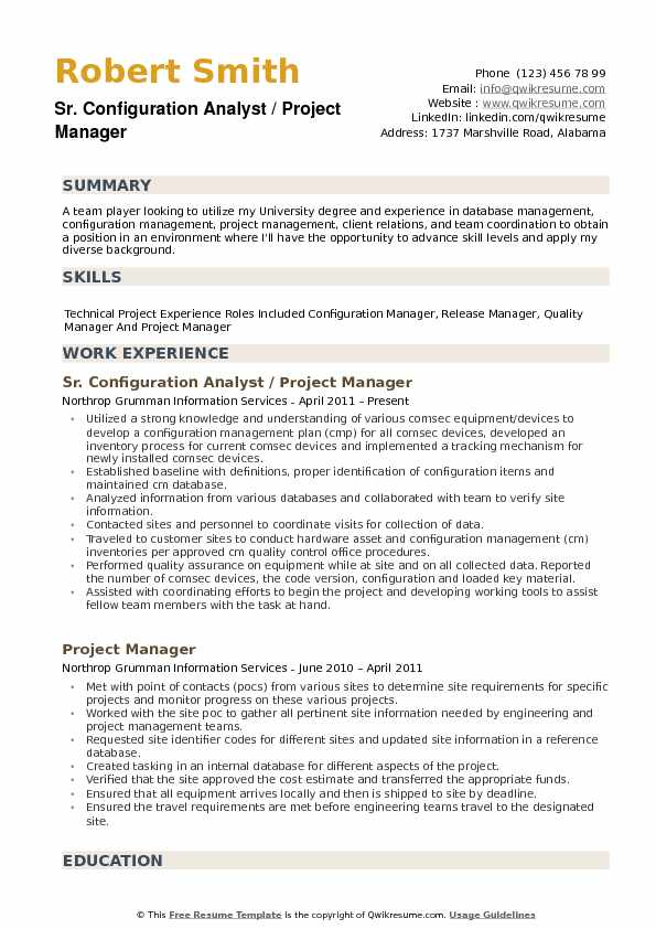 Configuration Analyst Resume Example