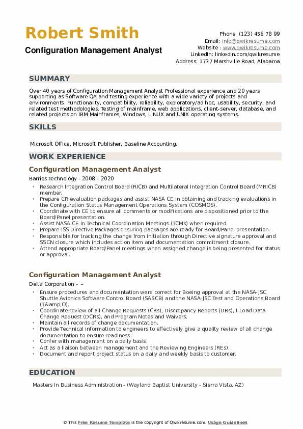 Configuration Management Analyst Resume example
